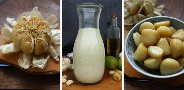 Roasted Garlic Dressing - Collage of Three Images in a Row