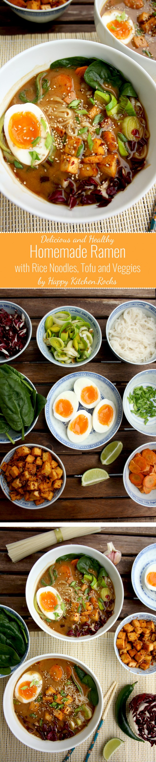 Healthy Ramen with Rice Noodles, Spicy Tofu, Lots of Veggies and Soft-Boiled Eggs: A great gluten-free and healthy homemade alternative to restaurant ramen
