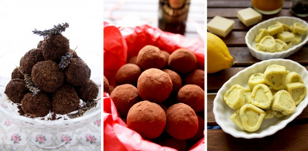 Three Chocolate Truffles Recipes Collage of Three Recipes in a Row