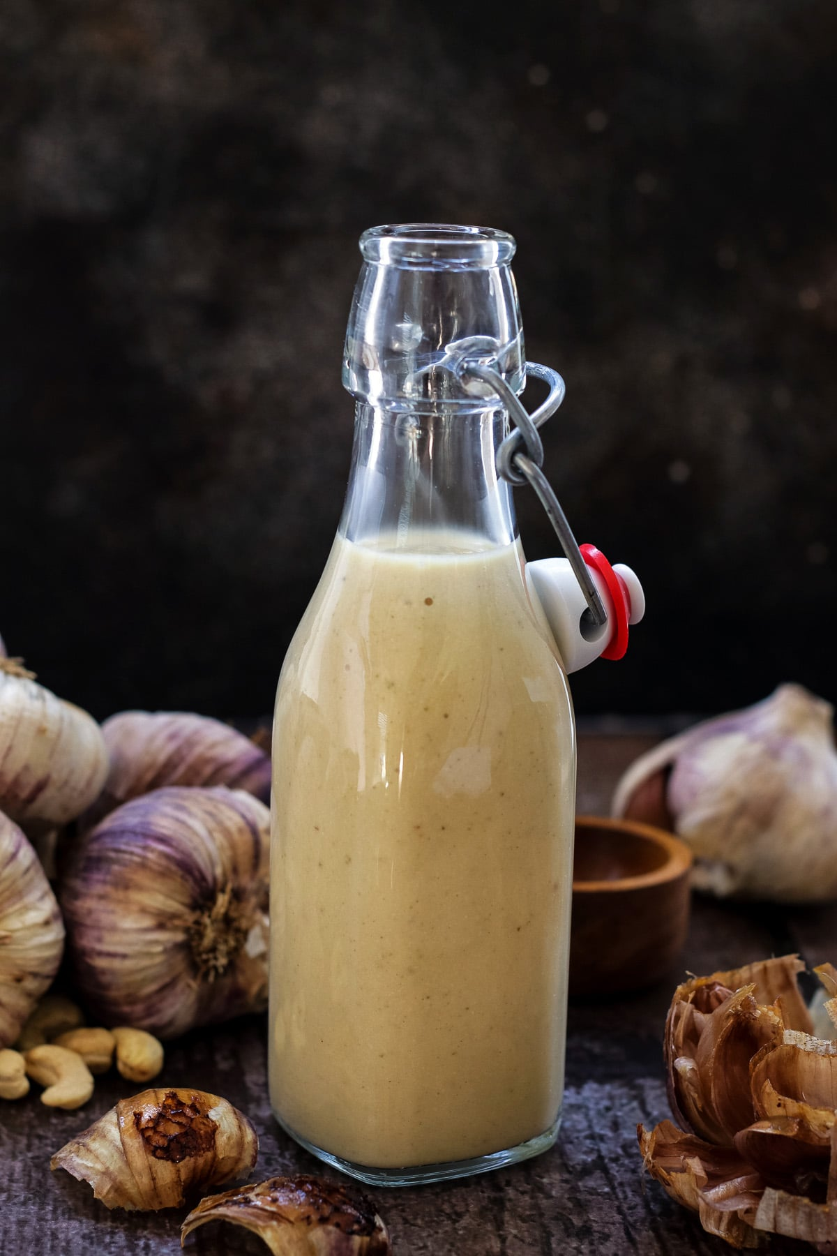 A bottle of roasted garlic sauce.