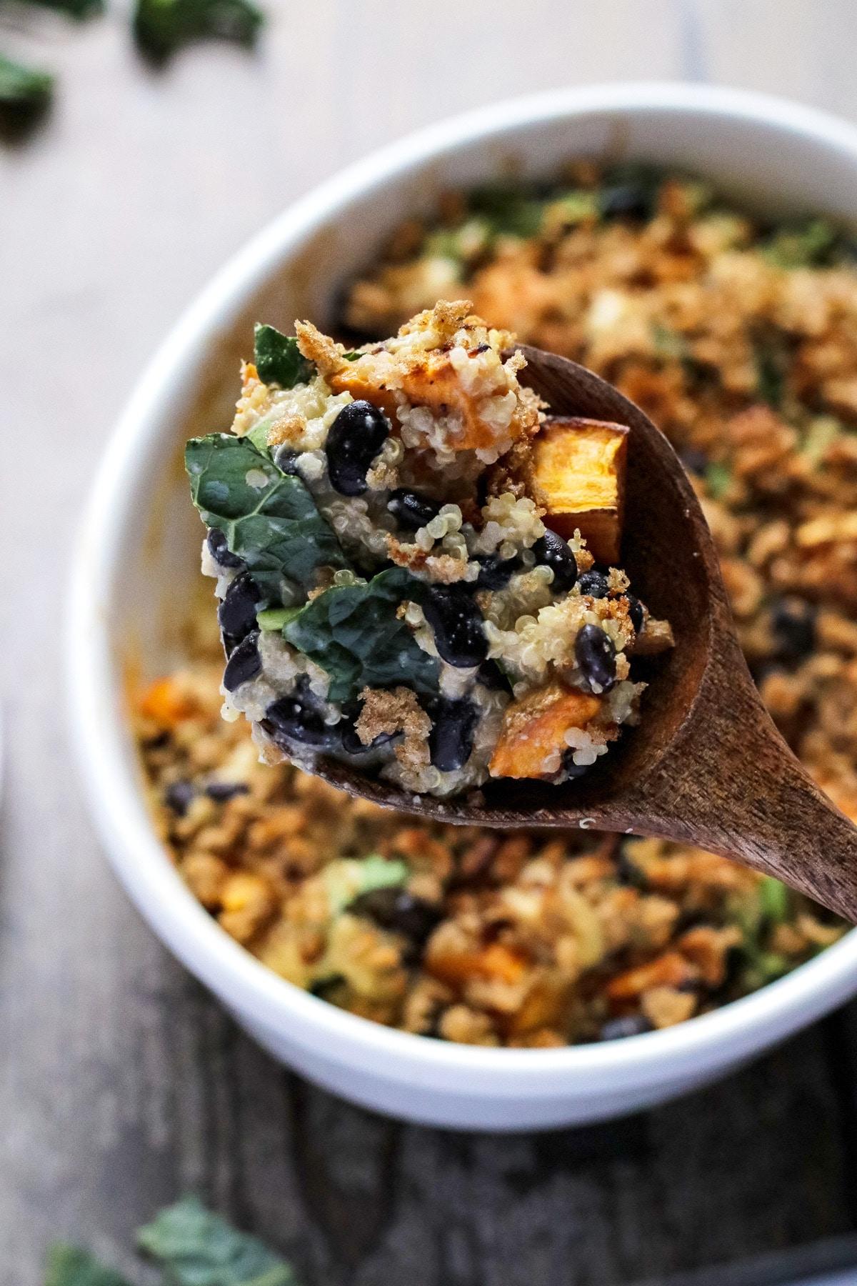 A spoonful of vegan sweet potato casserole.