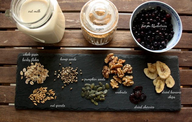 Muesli Recipe: Delicious, wholesome, nutritious and quick breakfast based on grains, nuts, seeds and fruits. Spend 10 minutes to make a big jar and use it whenever you need! The recipe is adjustable to any dietary need. Raw, gluten-free, dairy-free, whole grain, vegan.
