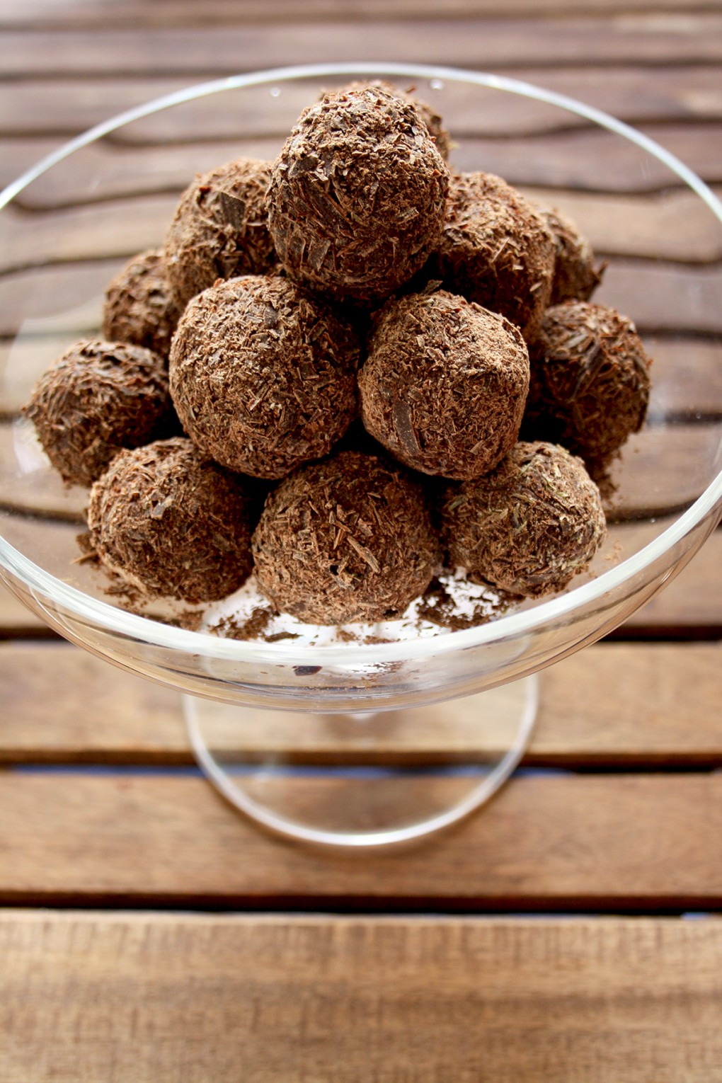 Three Chocolate Truffles Recipes - Dark Chocolate Truffles with Lavender and Honey in a Glass Bowl