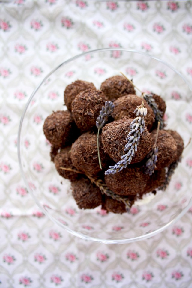 Three Chocolate Truffles Recipes Decorated with Lavender - Looking Nice