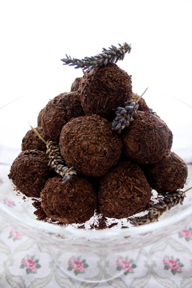 Three Chocolate Truffles Recipes Decorated with Lavender and Photographed from the Side. Source: happykitchen.rocks