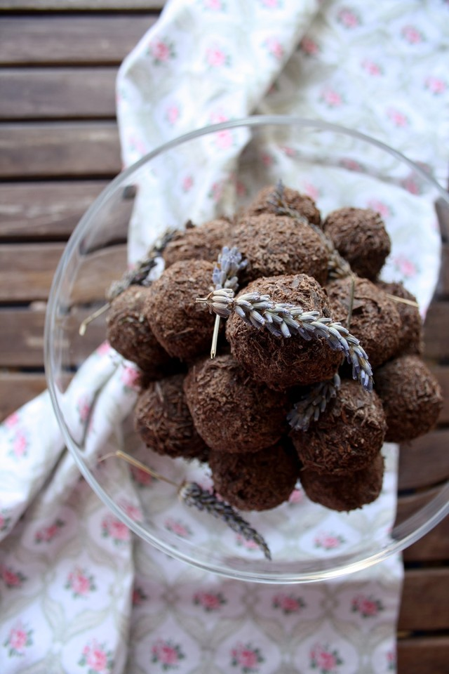 Three Chocolate Truffles Recipes Decorated with Lavender on Top