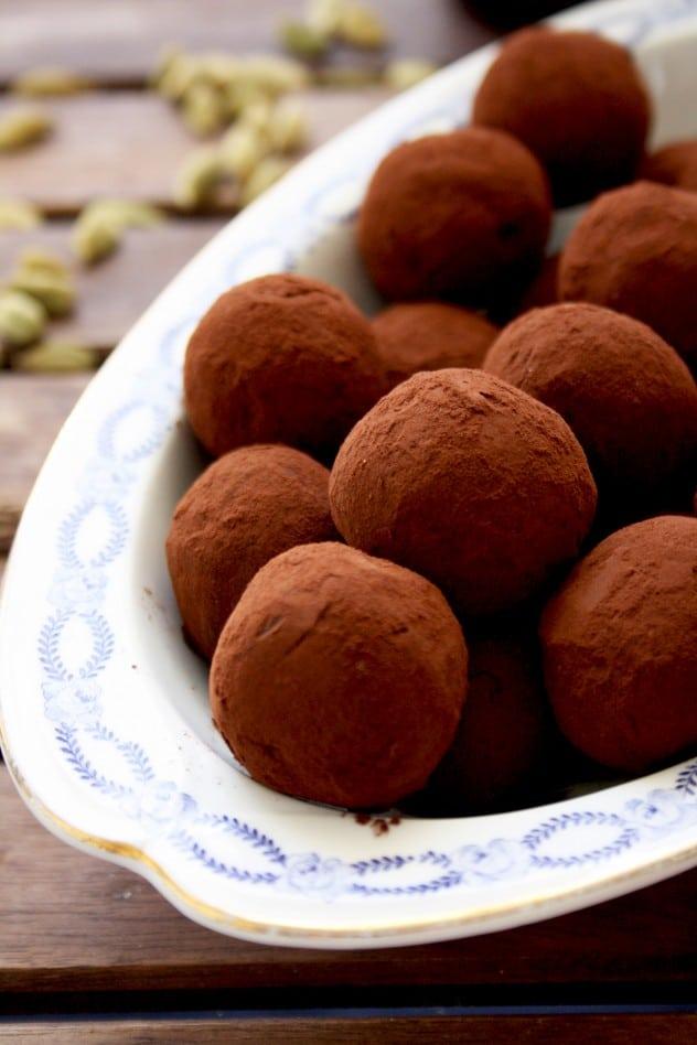 Three Chocolate Truffles Recipes Closeup on the First Recipe