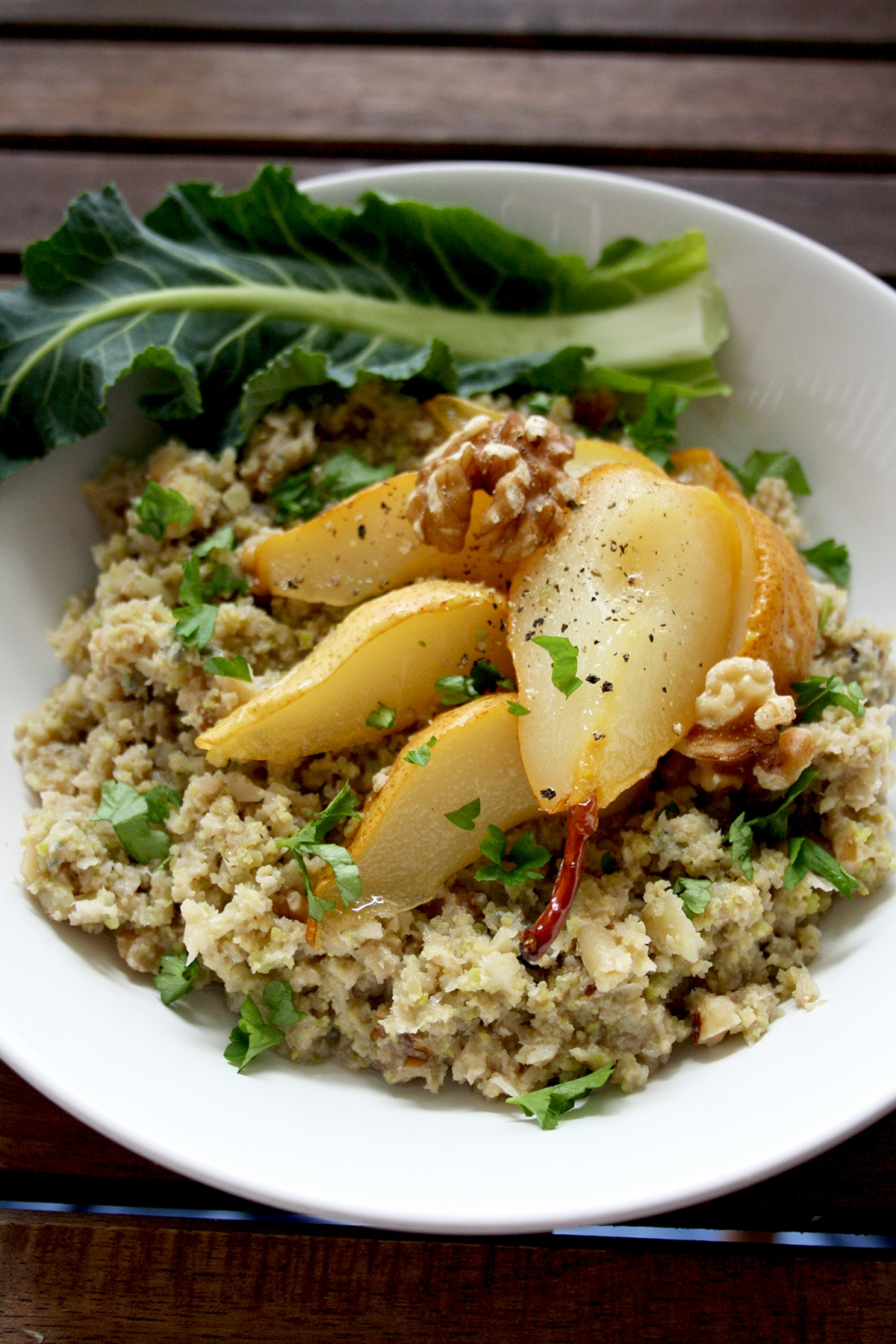 Cauliflower Risotto with Caramelized Pears, Blue Cheese and Walnuts
