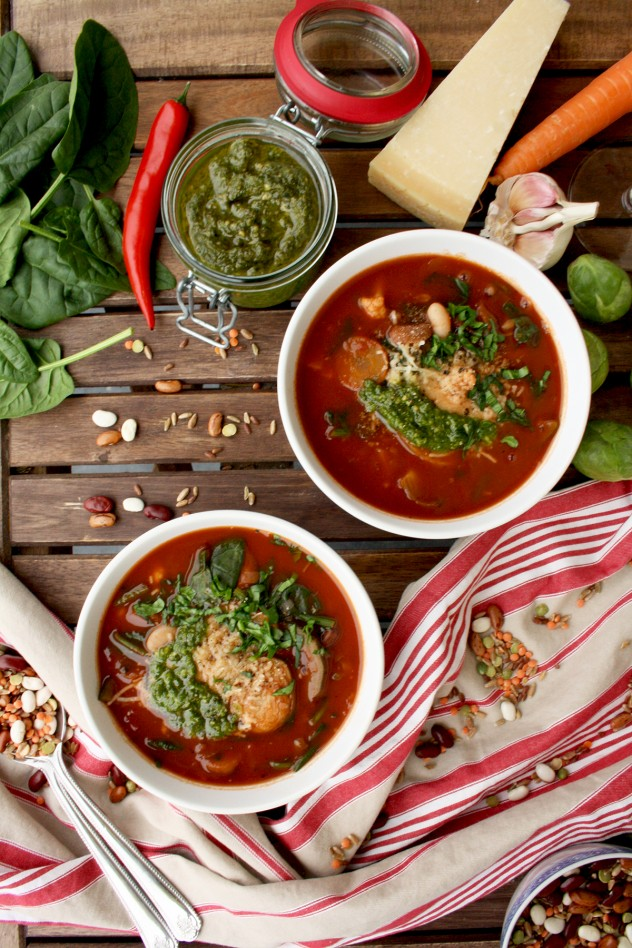 This hearty and well-balanced vegan minestrone soup is packed with seasonal vegetables, beans, lentils and whole grains. Use any veggies you have on hand!