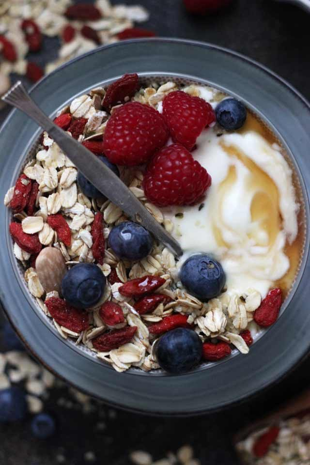 Muesli Recipe: A Healthy and Delicious Breakfast Idea - Beautiful Overhead Closeup with Delicious Berries