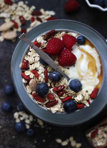 Muesli Recipe: A Healthy and Delicious Breakfast Idea - Muesli Breakfast Bowl Flatlay