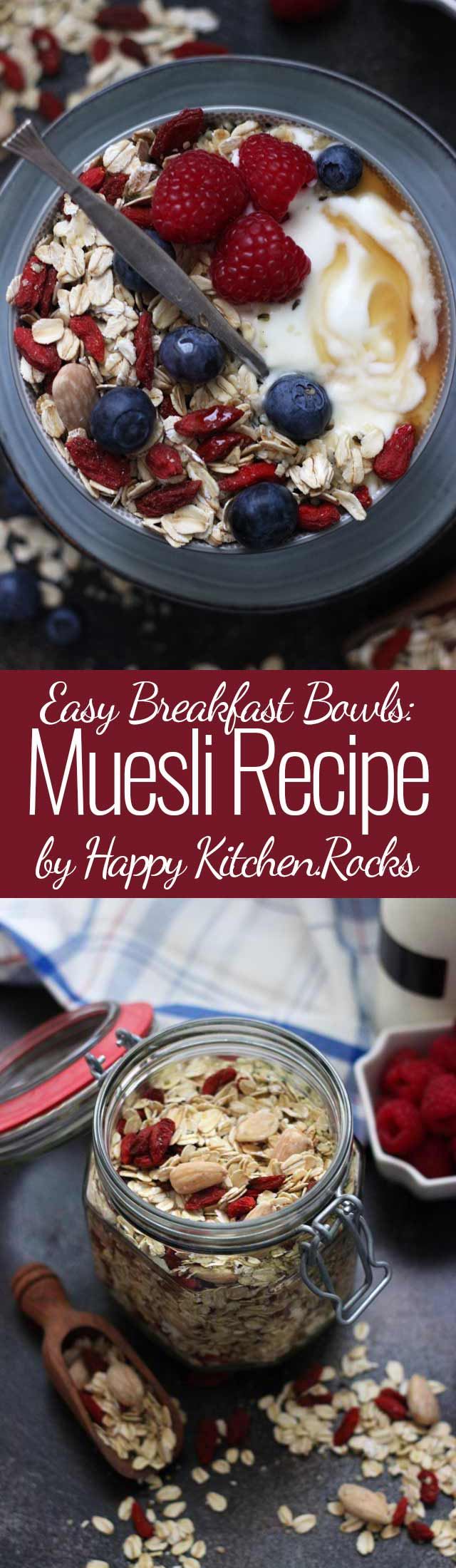 Muesli Recipe: A Healthy and Delicious Breakfast Idea Super Long Collage with Text Overlay