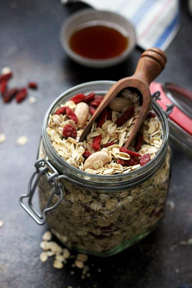 Muesli Recipe: A Healthy and Delicious Breakfast Idea - Muesli in a Jar with a Wooden Scoop
