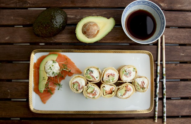 Pancake Sushi Rolls with Salmon and Avocado: An ultimate Russian - Japanese fusion food, perfect for breakfast, brunch or as an appetizer for a party.
