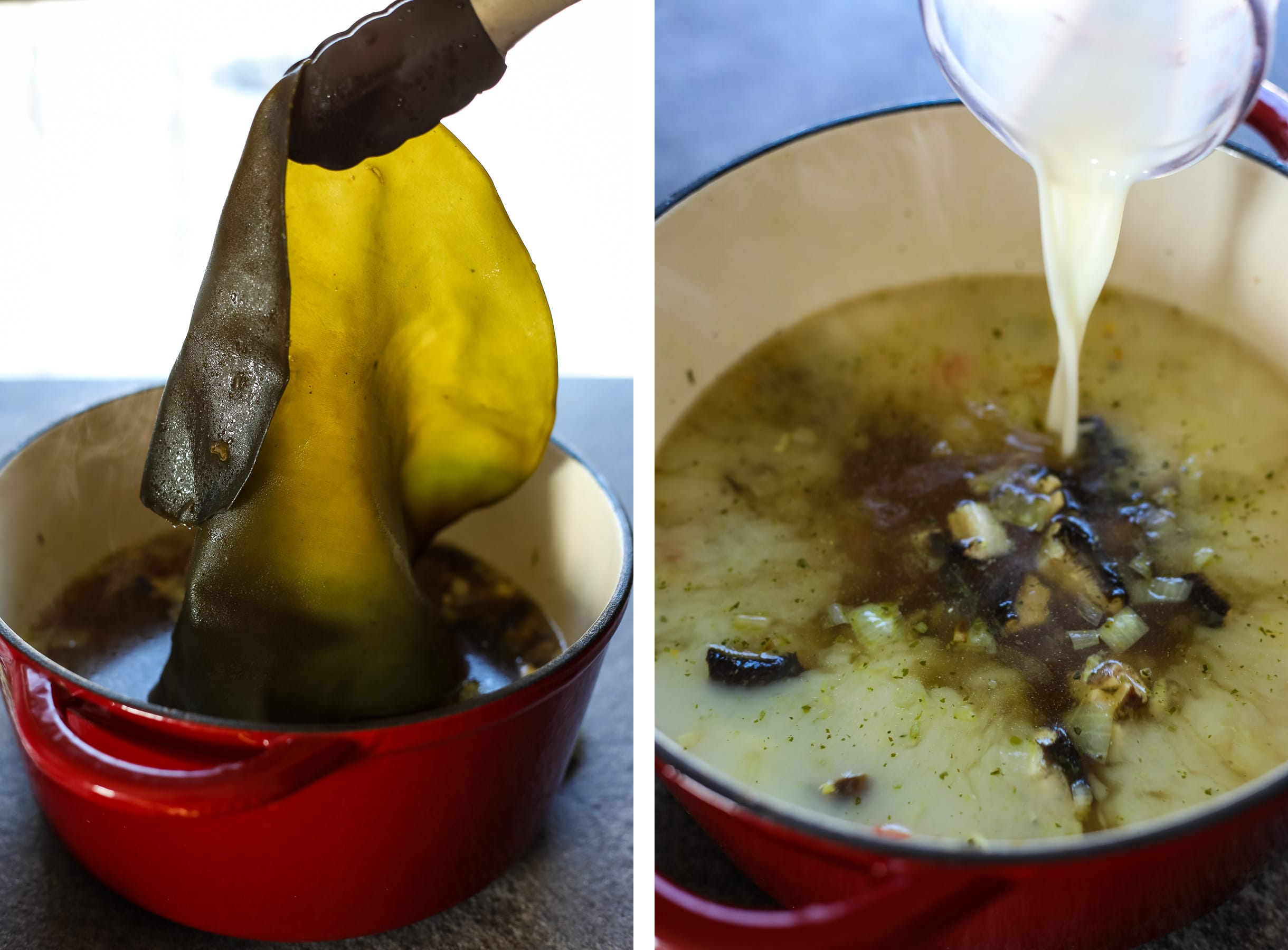 Removing Kombu with Kitchen Tongs and Adding Almond Milk to the Ramen Broth.