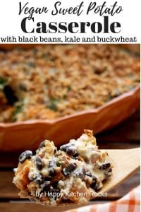 Spoonful of Vegan Casserole with Sweet Potatoes, Buckwheat and Beans Pinterest