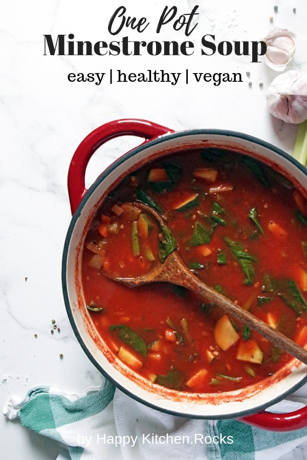 Vegan Minestrone Soup in a Pot Pinterest Collage with Text Overlay