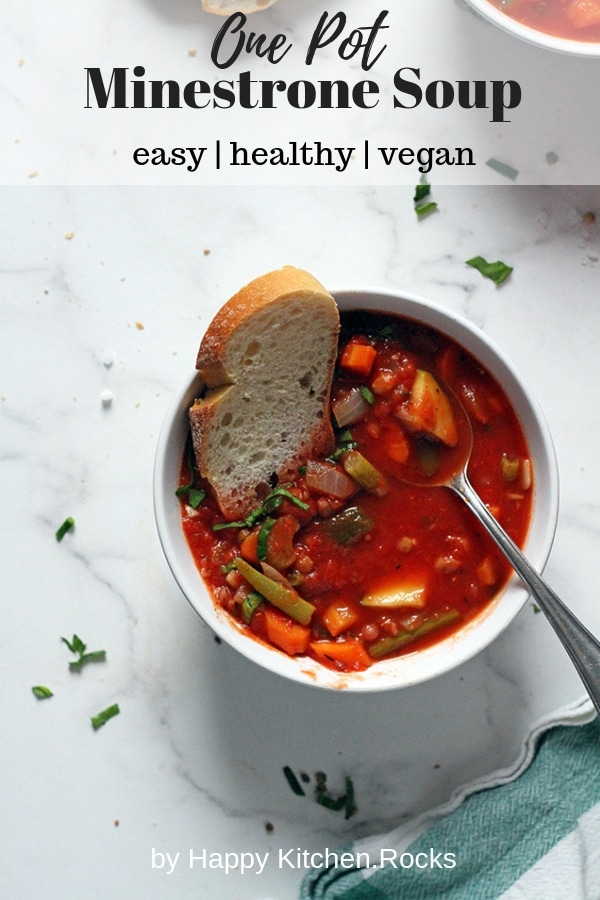 Vegan Minestrone Soup in a Bowl Pinterest Collage with Text Overlay