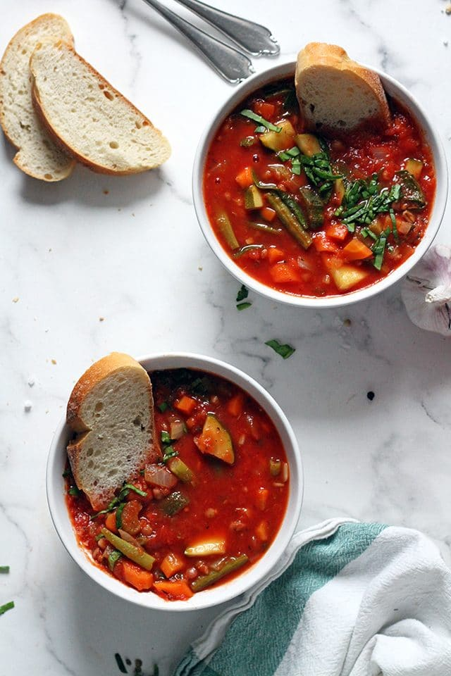 Vegan Minestrone Soup in a Two Bowls