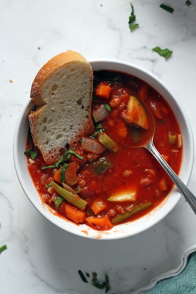 Vegan Minestrone Soup in a Bowl Centered