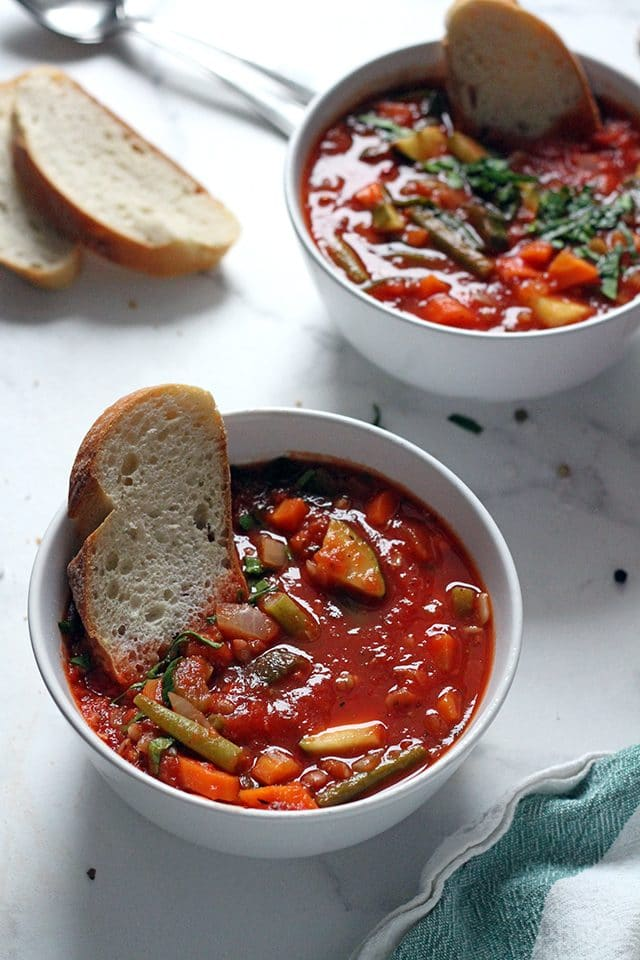 Vegan Minestrone Soup in a Bowl Closeup
