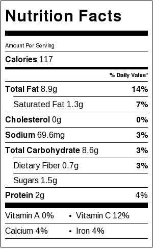 Roasted Garlic Dressing Nutrition Information Card