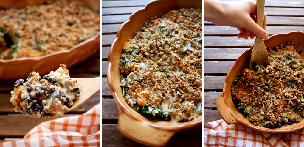 Collage of Three Images of a Vegan Casserole Dish