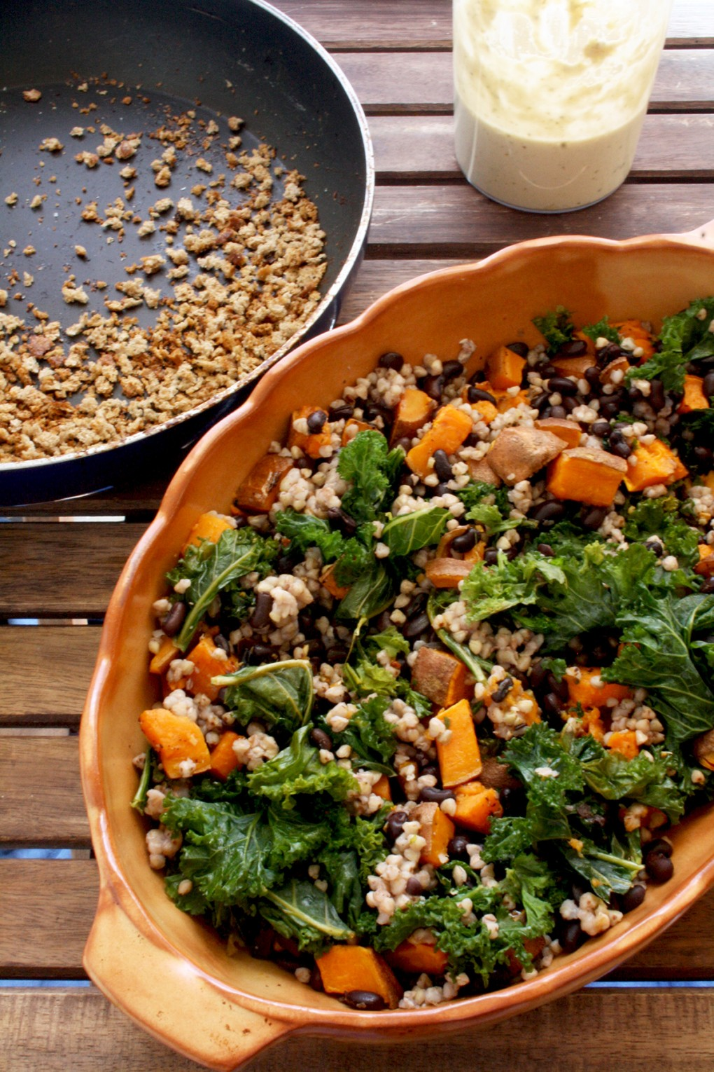 Sweet Potato Casserole with Kale , Black Beans and Buckwheat Before Baking