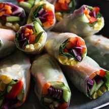 Fresh Vegan Spring Rolls Stacked, Colorful and Inviting