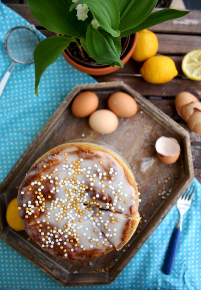 Kulich - Sweet Russian Easter Bread Overhead Shot with Lemons at the Side