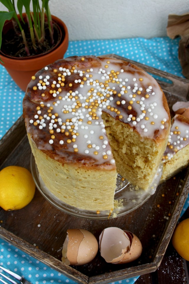 Kulich - Sweet Russian Easter Bread Missing One Delicious Piece