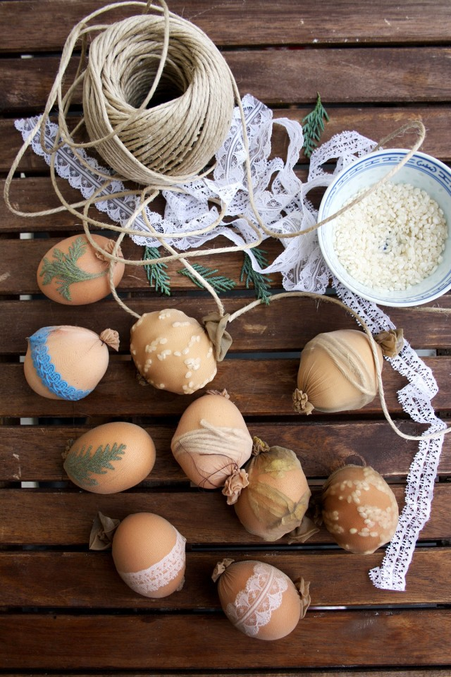 Natural Egg Dye with Onion Skins 5 - Preparing to Craft