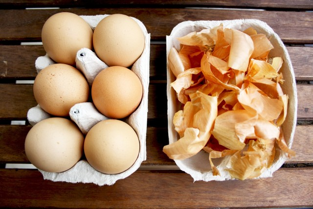 Natural Egg Dye with Onion Skins 5 Ways - Eggs Ingredient Closeup