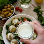 Crispy Baked Falafel with Hazelnuts and Creamy Lemon-Mint Sauce - Holding a Sauce for the Dish
