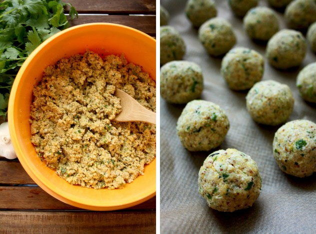 Crispy Baked Falafel with Hazelnuts and Creamy Lemon-Mint Sauce - Other Two Vertical Images Collage