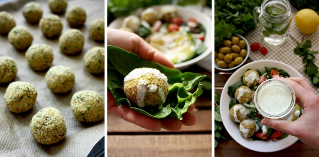 Crispy and healthy baked falafel with hazelnuts drizzled with creamy lemon-mint sauce: easy-to-make, low-fat and so delicious! Much better than deep fried!