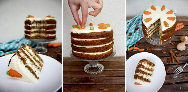 Super Moist Carrot Cake with Vanilla Cream Cheese Frosting - Finishing Steps Image Collage