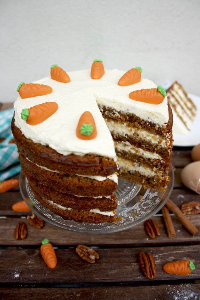 Super Moist Carrot Cake with Vanilla Cream Cheese Frosting - Missing One Delicious Piece