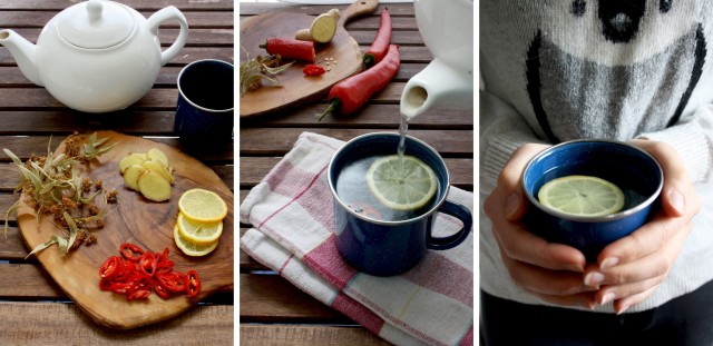 Natural Flu Remedy: Magic 4-Ingredient Tea - Three Vertical Images Collage