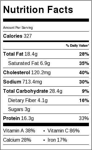 The Best Rustic Ricotta Spinach Quiche Nutrition Facts Card