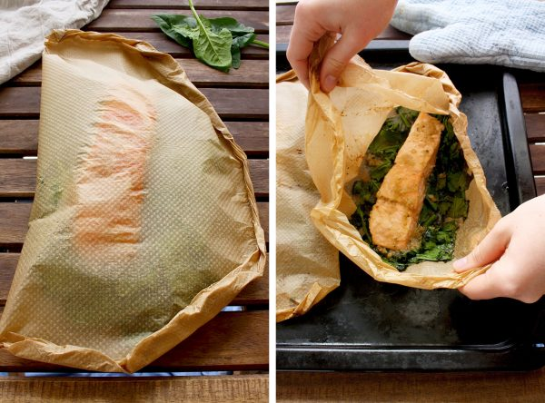 Easy Parchment Salmon with Spinach • Happy Kitchen.Rocks