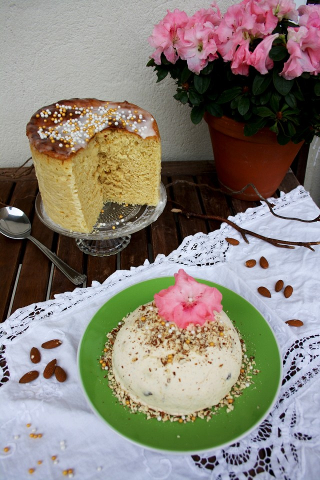 Healthier Russian Easter Paskha with a Flower and a Pot in the Background