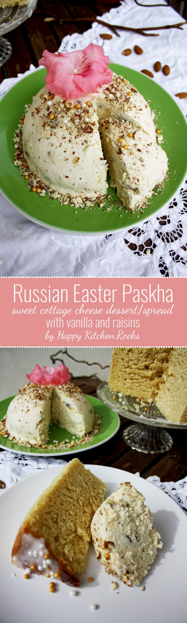 Traditional Russian Easter paskha, a festive dish made of cottage cheese (tvorog), butter, dried fruits and vanilla.This paskha recipe is healthy and incredibly delicious. Serve it as a spread for sweet Easter bread (kulich) or as a dessert.