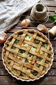 The Best Rustic Ricotta Spinach Quiche - Overhead Shot on the Whole Quiche