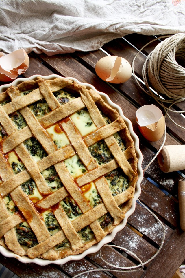 The Best Rustic Ricotta Spinach Quiche Overhead Shot on the Dish on a Wooden Table
