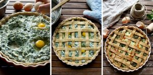 The Best Rustic Ricotta Spinach Quiche - Three Vertical Images Combined