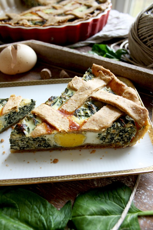 The Best Rustic Ricotta Spinach Quiche Served in One Piece on a Light Tray