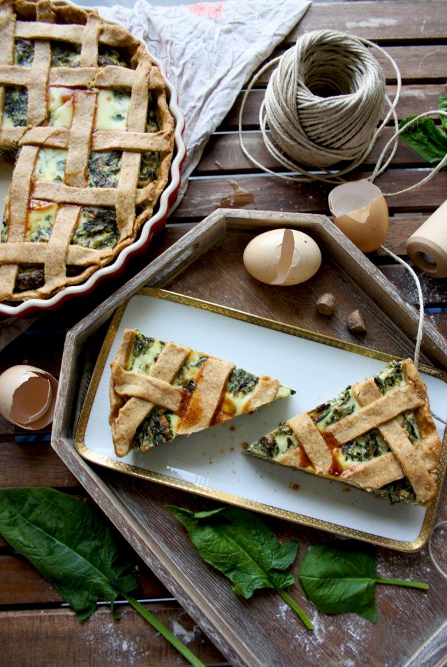 The Best Rustic Ricotta Spinach Quiche Beautiful Composotion of the Dish with Greens and Egg Shells