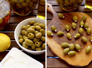 Cream Cheese Stuffed Olives - Two Vertical Images Collage