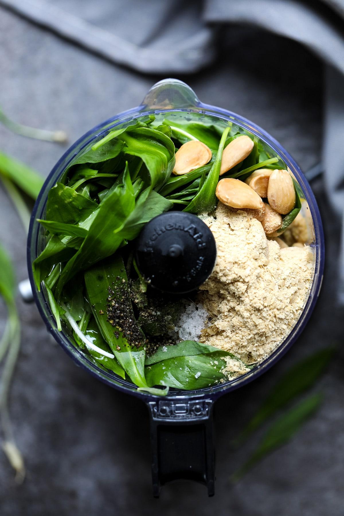 Ingredients for Ramp Pesto in a Blender.